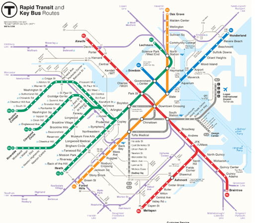 guide to boston subway charliecard map