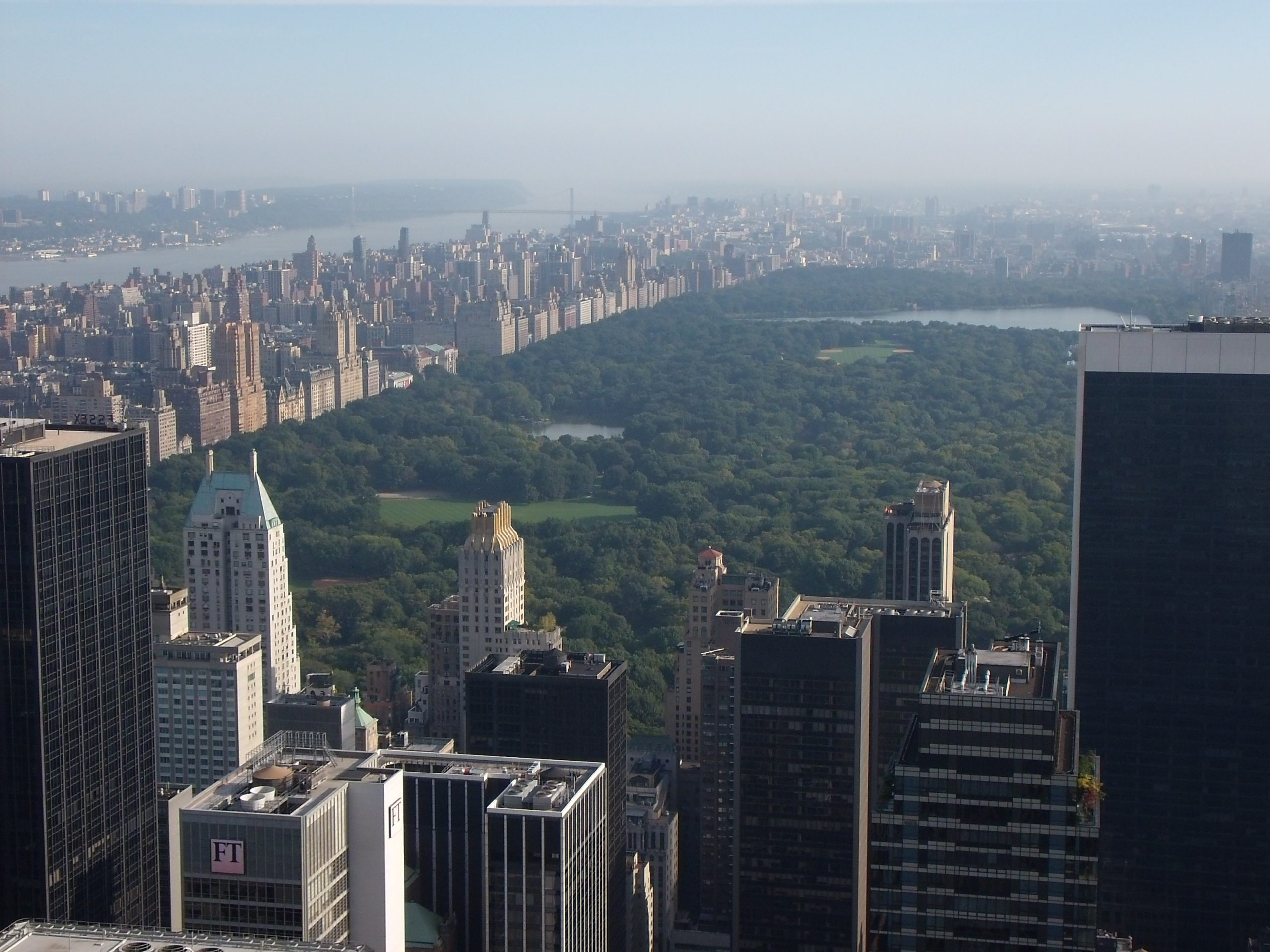 top of the rock view of central park
