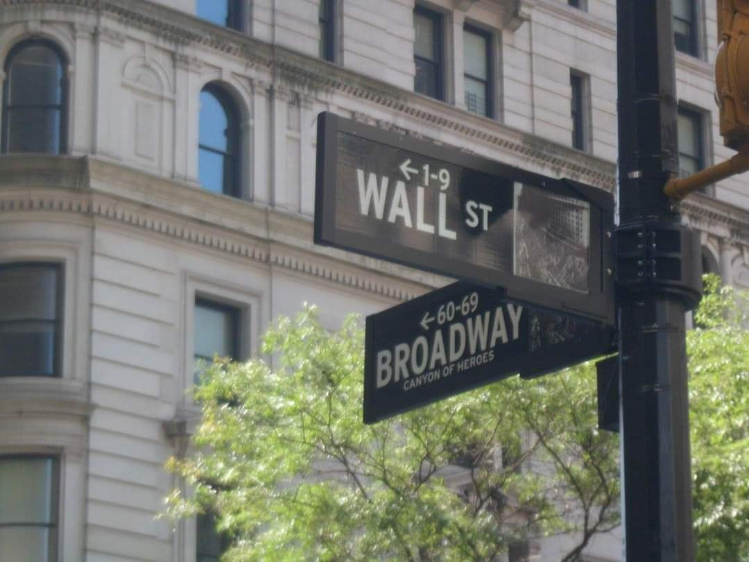 wall street sign and broadway - new your city